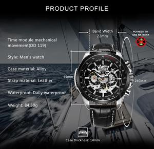 Image 2 - WINNER Official Automatic Watch Men Military Skeleton Mechanical Watches Genuine Leather Strap Luxury Dress Mens Wristwatches