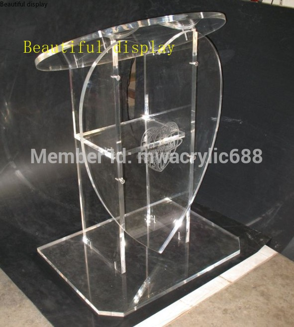 Free Shipping Popularity Heart Shape Beautiful Modern Design Cheap Clear Acrylic Lectern