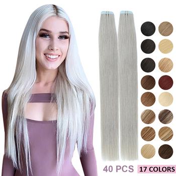 MRSHAIR 40 sztuk taśma w doczepy z ludzkich włosów 14 #8222 16 #8221 18 #8222 20 #8221 22 #8222 24 #8221 maszyna Remy włosy na klejach taśma PU skóra wątek niewidoczny tanie i dobre opinie Proste Maszyna Stworzona Remy 2 5g strand CHINA Pure color Brazylijski włosy Ciemniejszy kolor tylko NEW YORK