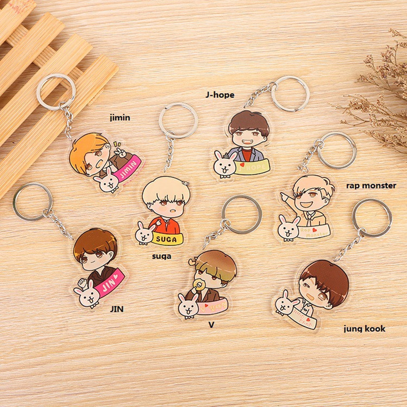 Fashion Boys Keychain Cute Cartoon Keychains Women Men Gift Jewelry Key Ring Car Pendant Keyring Bag JIMIN SUGA J HOPE