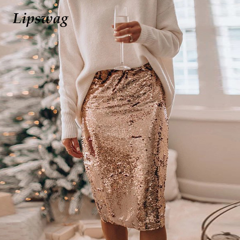 Women Sequined Glitter Shiny Skirts New Sexy Split Elastic Bodycon Skirt 2020 Spring Summer Solid Color Office Lady Pencil Skirt