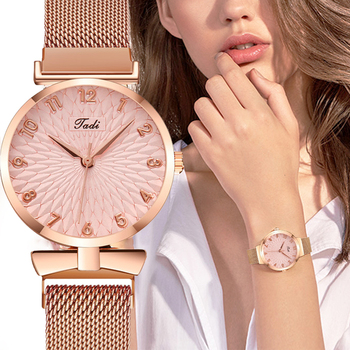 Fashion Women Quartz Watch Sun Flower Dial Wristwatch Mesh Belt Watch Lady Casual Watch Female Clock Gifts creative dial display women watch lady casual fashion clock stainless steel mesh band desgined quartz watch female gift shengke