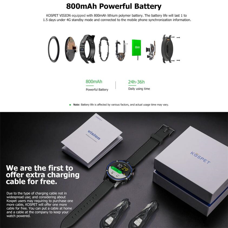 KOSPET Vision 3 ГБ 32 ГБ 5.0MP двойная камера GPS Спорт Android Смарт часы 1,6 800 мАч Bluetooth Smartwatch для мужчин для IOS Android - 5