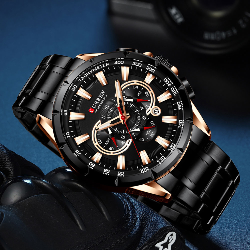 H5f9d6c49102541828b6cf9834aa698a4f CURREN Wrist Watch Men Waterproof Chronograph Military Army Stainless Steel Male Clock Top Brand Luxury Man Sport Watches 8363