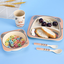 5pcs Children's Dishes Baby Food Bamboo Tableware Cartoon