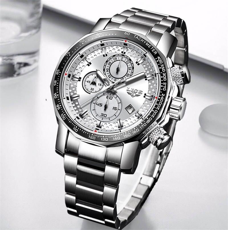 Décontracté montre-bracelet hommes 2020 LIGE militaire hommes montres haut de luxe marque Sport montre homme étanche grand cadran mâle horloge Relogio