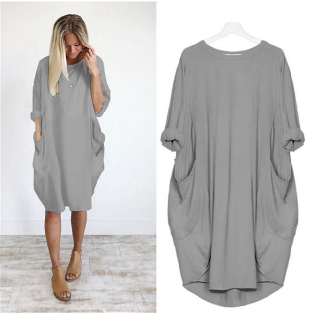 Casual Loose Dress With Pocket Women's Spring Summer Fashion Solid Color O-Neck Long Sleeve White Dresses Big Size S-5XL 3