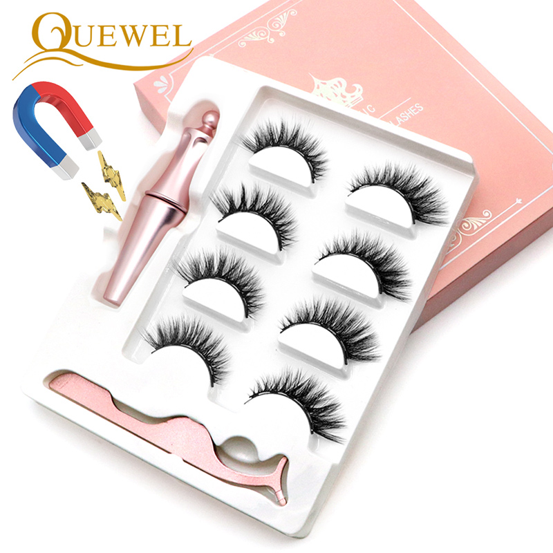 Quewel Magnetic Eyelashes Eyeliner Set False Eyelash & Magnetic Eyeliner & Tweezers 4 Pairs/Box New Hot Convenient Makeup Kit