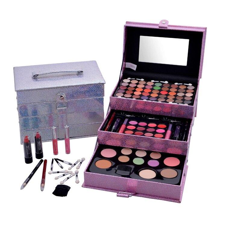 Professional Makeup Set 3 Lyers Suitcase Makeup Kit Eye Glitter Lipstick Brushes Eyeliner Cosmetic for Makeup Eyeshadow Palette