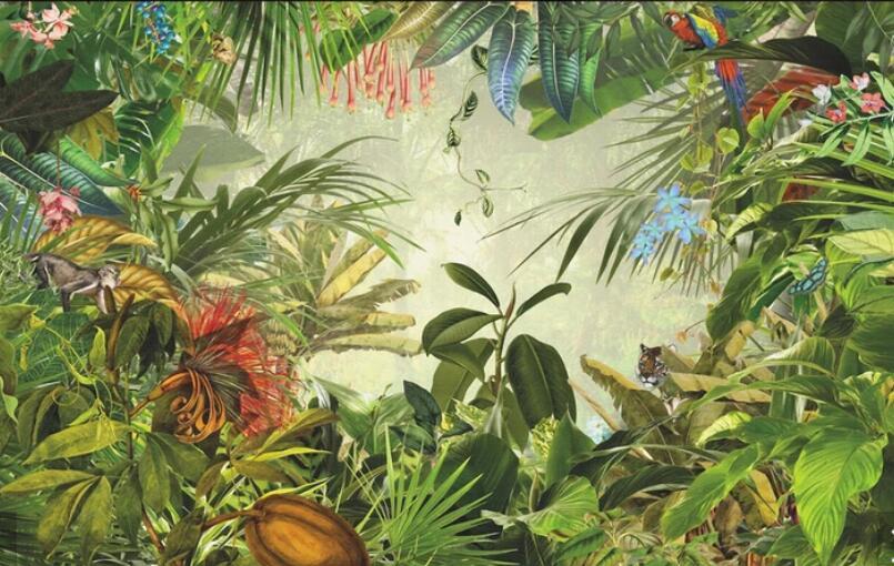 Прямая доставка деревья из джунглей животных настенные фрески 3D Ручная роспись тропические обои с листьями для гостиной обои под телевизор оформление - 3
