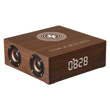 Drahtlose Ladegerät Wecker Holz Bluetooth Lautsprecher Subwoofer 3D Stereo Sound Box mit Mic tf karte für Smartphone Tablet PC