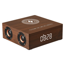 Wireless Charger Alarm Clock Wooden Bluetooth Speaker Subwoofer 3D Stereo Sound Box with Mic TF card for Smartphone Tablet PC