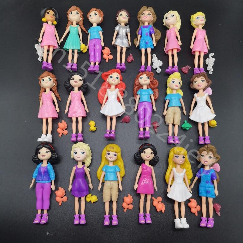 Nova Mista 6pcs/12 pçs/set Bonito Polly Pockets Menina Boneca Figuras 9-12cm Para Melhor DIY BONECA Presentes