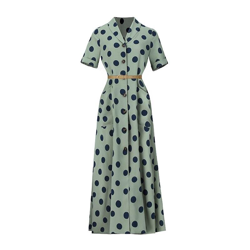 2019 VERRAGEE femmes été nouveau Long imprimé Dot robe Vintage Maxi robe - 5