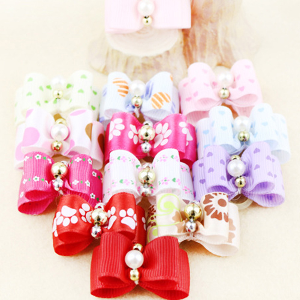 Cute Rubber Band Hair Accessories for font b Pet b font Dog Bow Grooming Bows Loverly