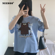 NEEDBO Women Tshirt Cotton Sexy Casual Oversize Harajuku T Shirt Woment Print Cartoon O-neck Short Sleeve Ladies Tops