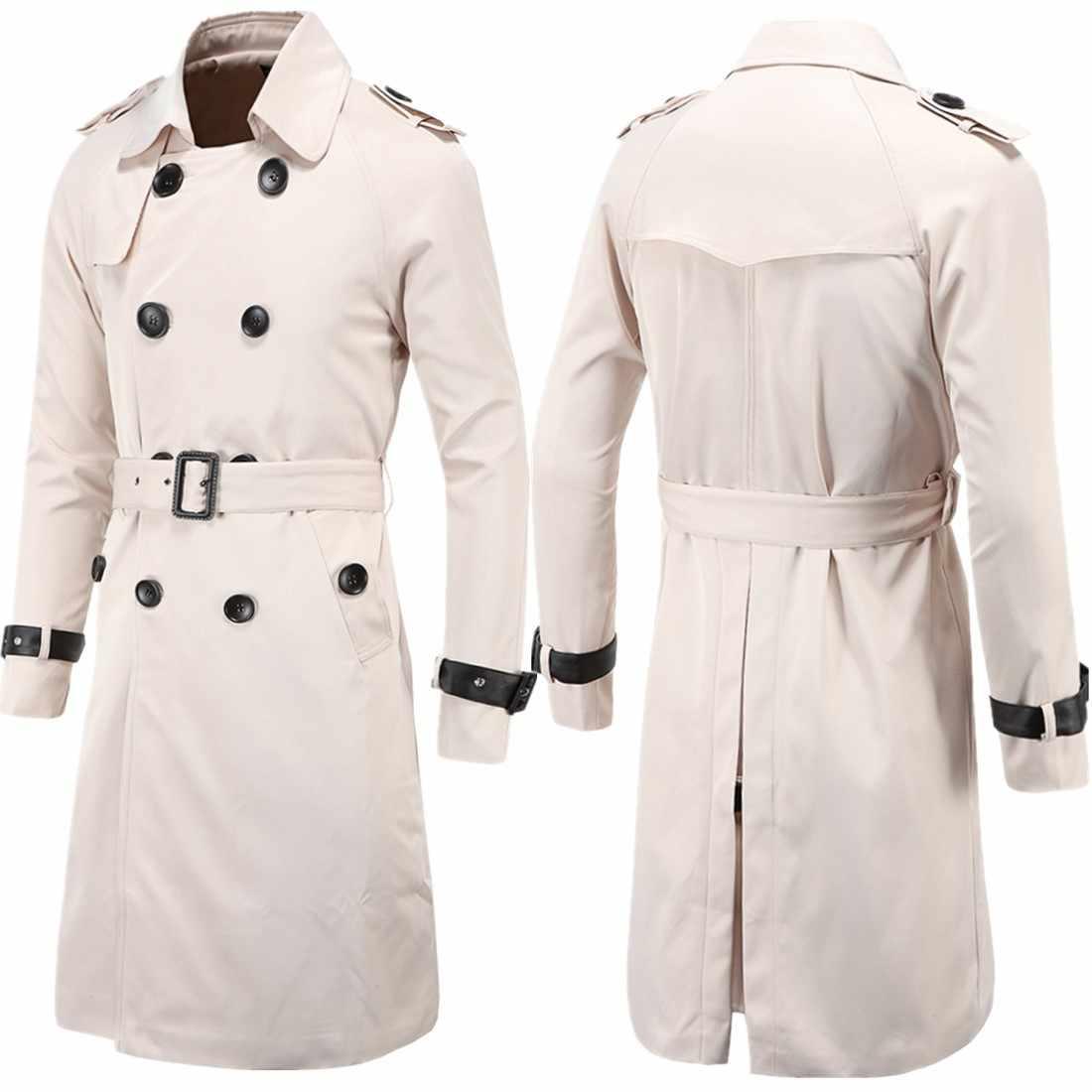 Aowofs 패션 남자 착용 2019 봄 의류 부티크 유럽과 미국 긴 슬림 맞는 더블 브레스트 트렌치 코트 남자 외부