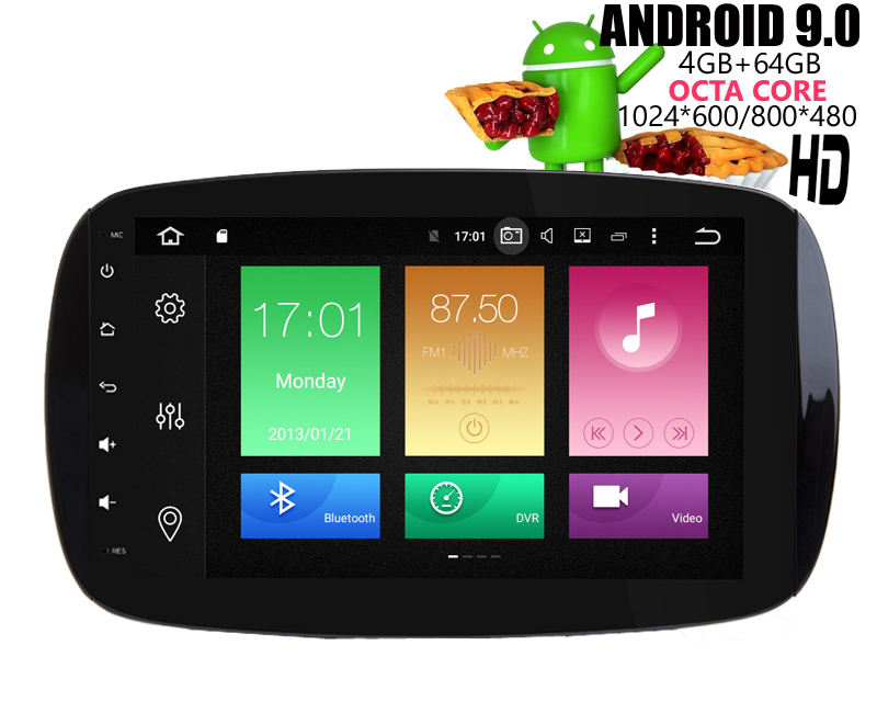HIRIOT 9 pouces Full Touch Android 9.0 lecteur DVD GPS de voiture pour Mercedes Benz Smart 2016-Auto Radio Sat Navi 4G + 64G Octa Core DAB +