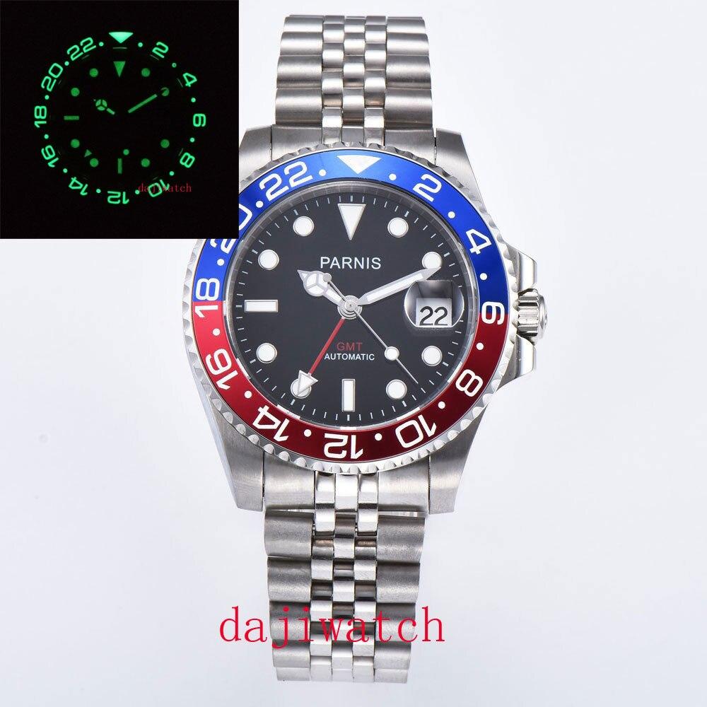 Luxo Parnis Relógio Masculino 38mm Preto – Azul Luminescente Moldura Cerâmica Vermelho Verde Brilhante Gmt