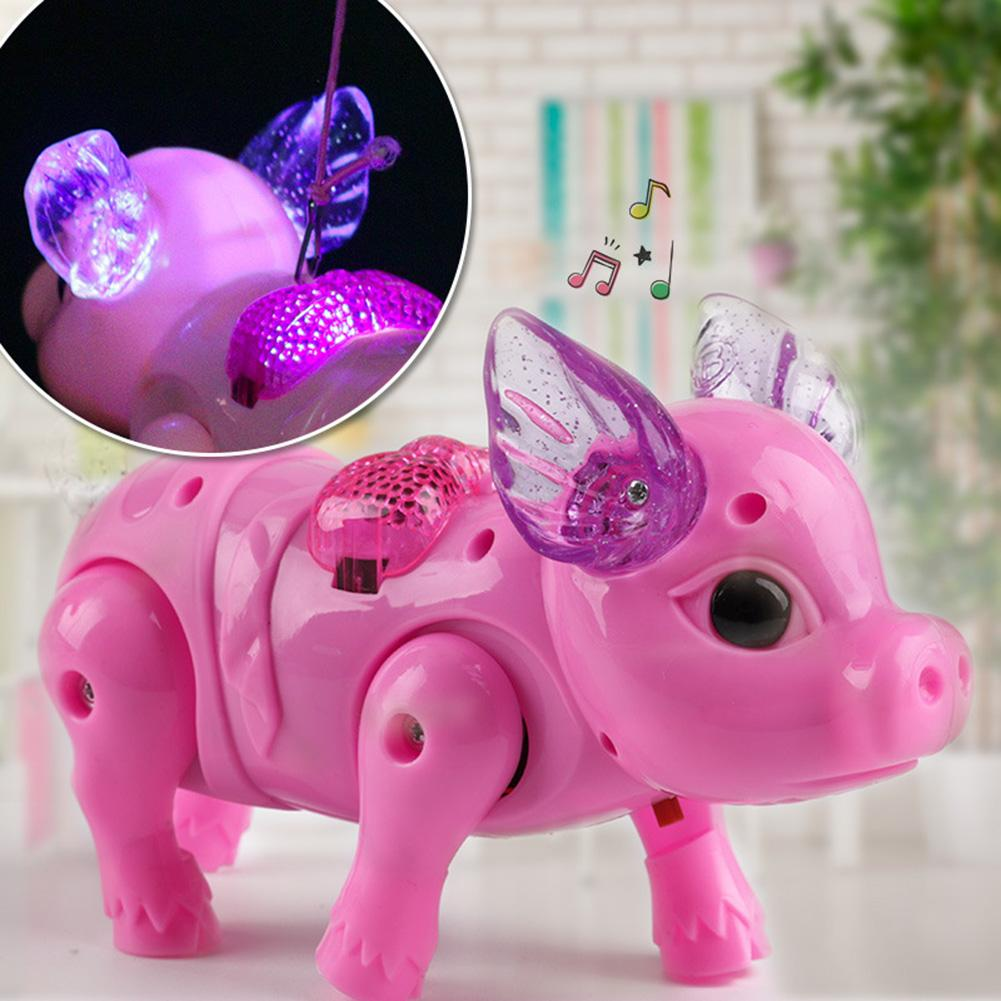 Kids Led Electric Walking Pig Toy Singing Musical Light Pig Toy With Leash Interactive Kids Toy Gift Random Color