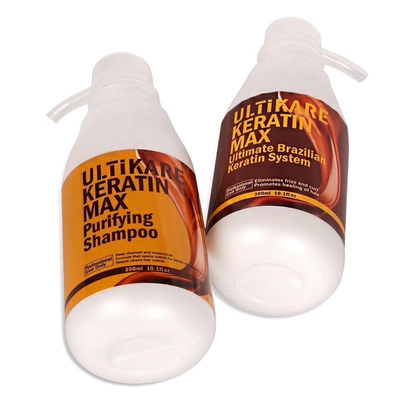 Small and Cheaper Brazilian 8% Keratin Chocolate Hair Treatment 300ml+Purifying Shampoo 300ml Straighten Hair Free Shipping