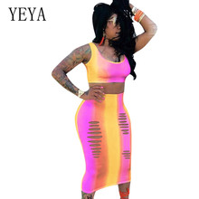 YEYA Rainbow Gradient Color Sexy Flower Vest Dress Two Pieces Sets Sleeveless Hollow Out Vintage Hole Bodycon Women