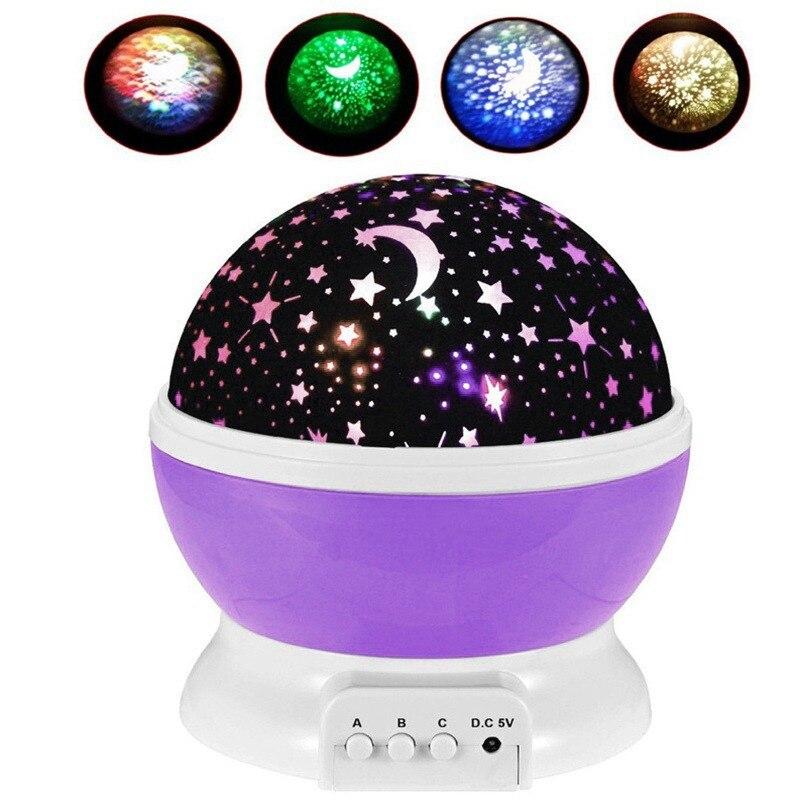 Girando a Luz Da Noite Projetor Estrelado Estrela Lua Cosmos Mestre Céu LEVOU lampara Lâmpada para Crianças no Quarto de Criança Presente de Aniversário luna