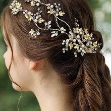 Золотые листья свадебный обруч со стразами богемный головной убор кристалл жемчуг волосы лоза цветок Halo свадебные аксессуары для волос для женщин