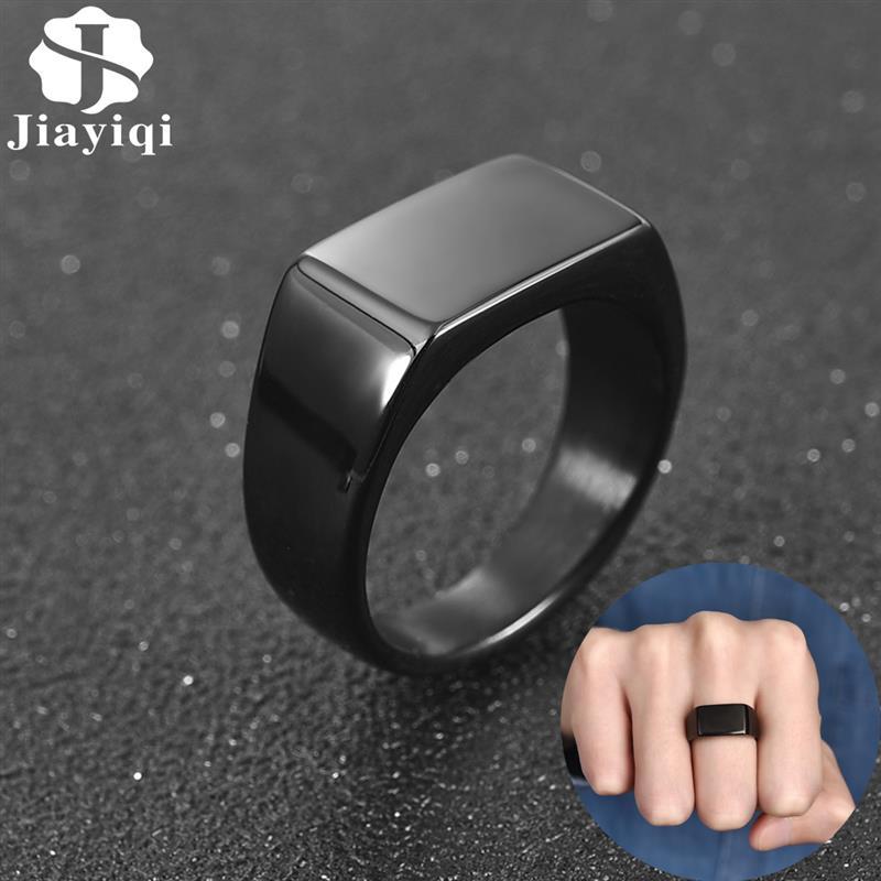 Jiayiqi mode hommes anneau en acier inoxydable Simple Style noir or argent couleur anneau carré breloque Hiphop mâle bijoux fête cadeau