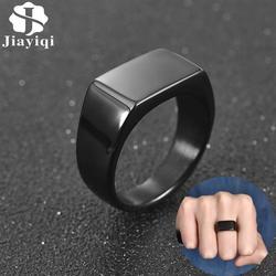 Jiayiqi moda męska pierścień ze stali nierdzewnej prosty styl czarny złoty kolor srebrny kwadratowy pierścień urok Hiphop biżuteria męska Party prezent