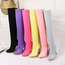 2020 Women Over-the-knee-boots Thin Heel Pointed Toe Women Long Boots Slip on Ladies Stretch Boots Autumn Winter Shoes Big Size siemo fashion women round toe low heel over the knee boots casual winter ladies dress shoes us size 4 17 big size customizable