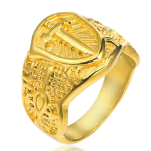 Knights Templar Cross Men Signet Ring Seal Gold Color Titanium Stainless Steel Male Rings Jewelry Band Punk Rock Hip DCR111