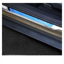 Lsrtw2017 Stainless Steel Leather Car Door Sill Threshold Trims for Skoda Kodiaq Interior Accessories lsrtw2017 stainless steel car door sill strip threshold trims for skoda octavia 2015 2016 2017 2018 2019 2020