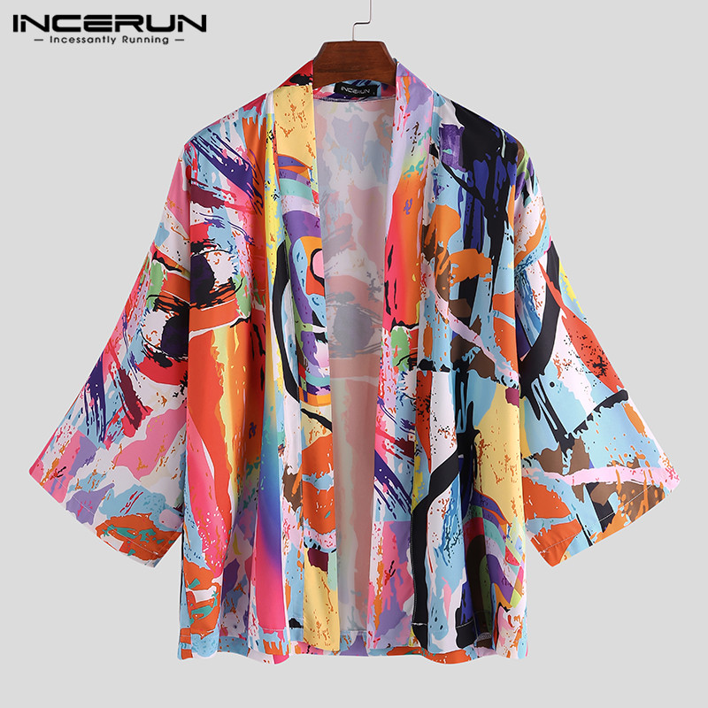 INCERUN Fashion Japanese Style Men Kimono Printed Vintage Yukata Loose Half Sleeve Outerwear Sunscreen Tops Cardigan Men Summer
