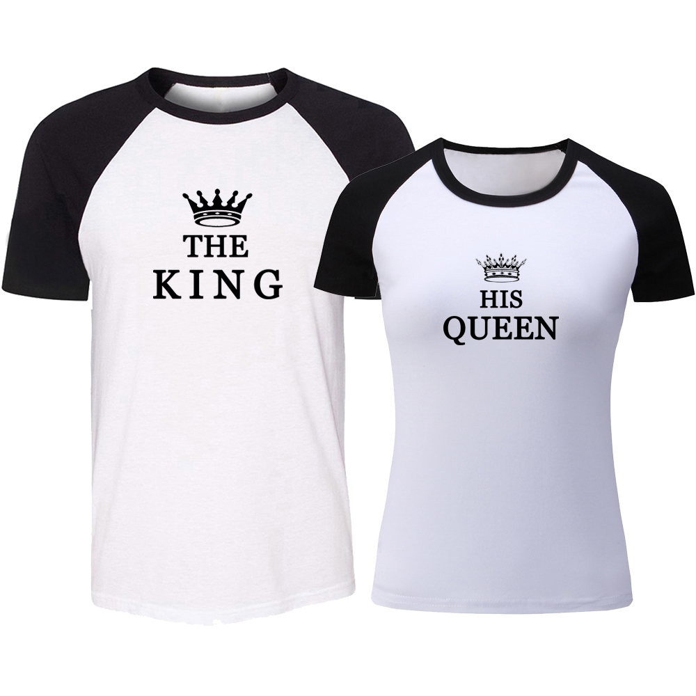 White Couple T-Shirts Matching King and Queen Shirts His and Hers New Design