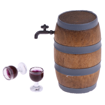 Hot 1:12 Scale doll Miniature Wine Beer Barrel Beer Cask Beer Keg and Wine Glass Set for Dolls House Decoration Accessories image