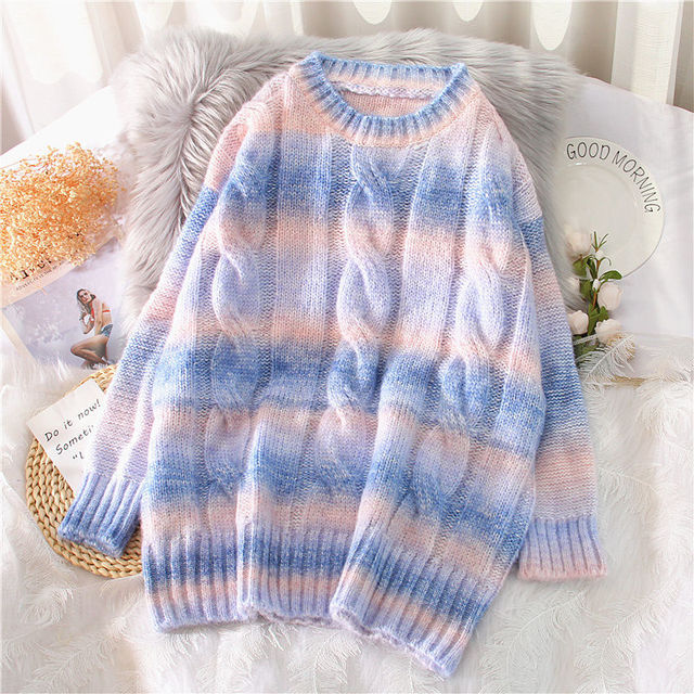 Autumn Winter Women Rainbow Sweaters Tie Dye Pullover O-Neck Long Loose Striped Korean Jumpers Candy Color Oversized Female Tops 2