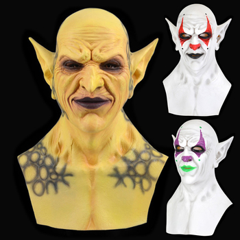 Horror Demon Joker Mask Cosplay Scary Fallen Angels Devil Clown Yellow Green Latex Masks Helmet Halloween Party Costume Props frankenstein horror mask cosplay latex masks helmet halloween party costume props