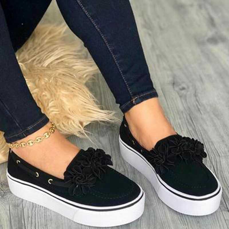 2019 Casual พลัสขนาดผู้หญิงรองเท้าผ้าใบสุภาพสตรี Suede Bow Tie Slip บนตื้น Comfort Vulcanized รองเท้าหญิงแฟลตรองเท้า
