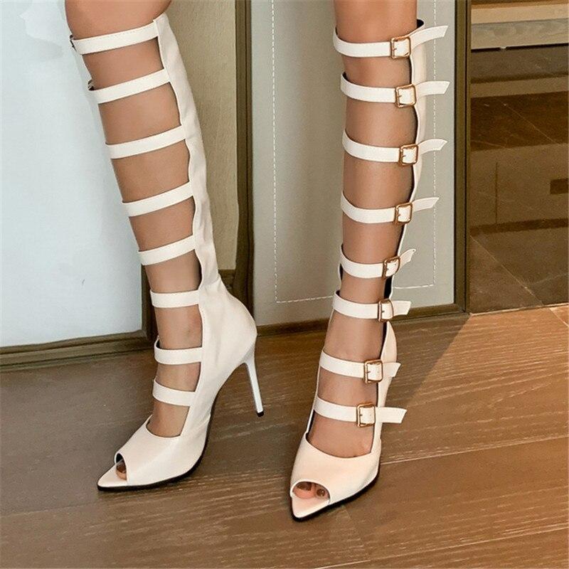 Women Round Toe High Block heel Pull On Knee Boots Shiny Rhinestone Shoes US4-13