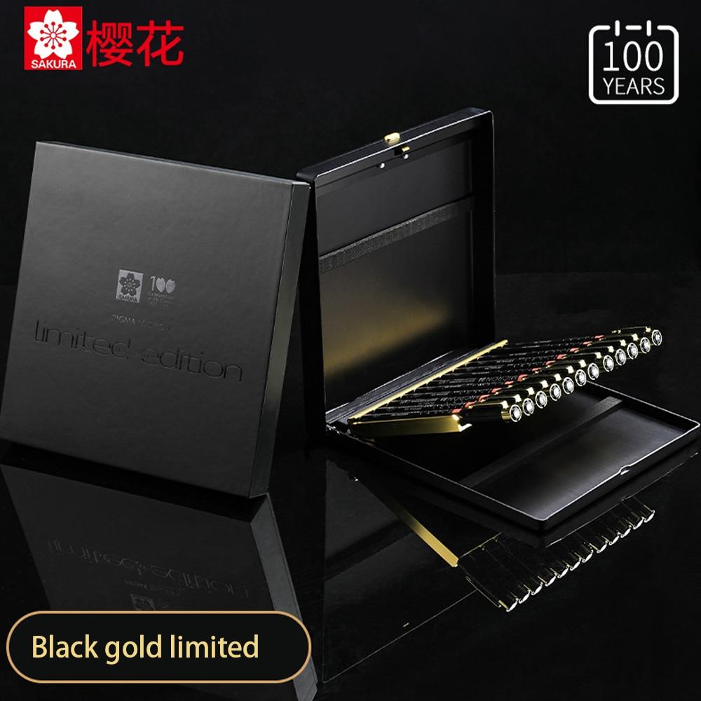 Japanese Sakura 100th Anniversary Limited Black Gold Gift Box 12 Sets Collector's Edition Design Comic Hand Drawing Waterproof