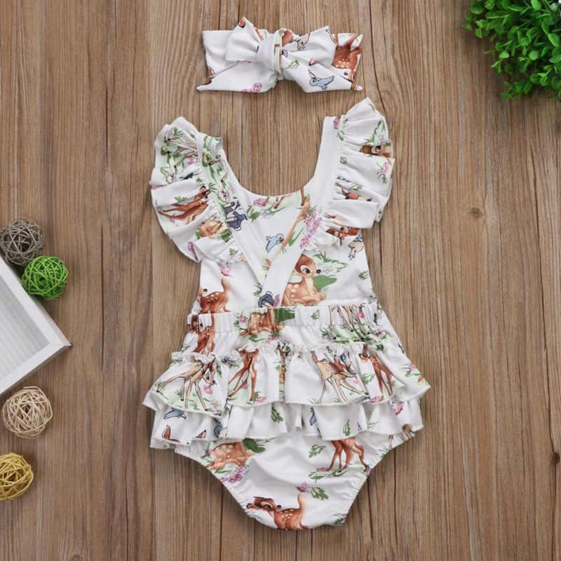 Mode Neugeborenen Kleinkind Infant Baby Mädchen Deer Rüschen Romper Overall Kurzarm Bebe Sommer Infant Nette Kleidung Kinder Outfits