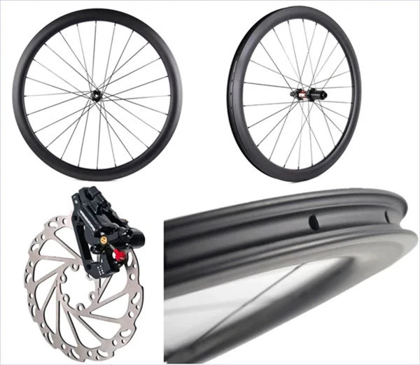 Roue à disque en carbone disque de route ensemble de roues 700C pneu ou Cyclocross Tubeless 38/45/50/60mm profondeur 25mm largeur marque OEM personnalisée