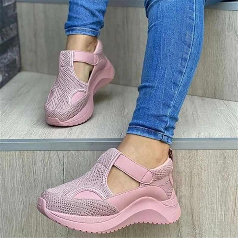 Kadın ayakkabı yaz pompaları tıknaz orta topuklu artı boyutu nefes örgü spor ayakkabı takozlar ayakkabı kadın kadın mujer sapato feminino