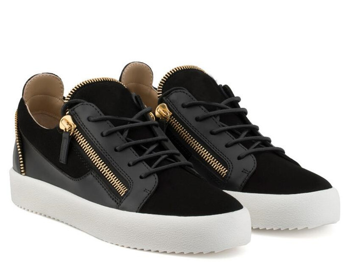 SHOOEGLE High Quality Men Gold Black Patchwork Leather Tied Zipper Youth Sport Shoes Fashion Round Toe Flats Low Top Sneakers