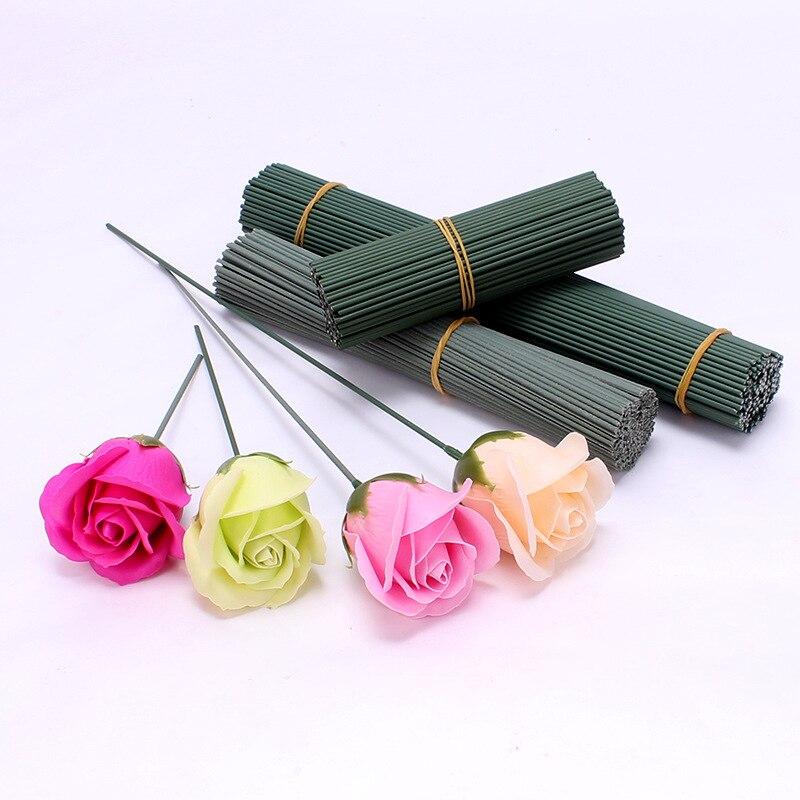 100PCS Soap Flower Dedicated Single Pole Rose Hydrangea Sunflower Flower Arrangement Plastic Iron Wire Rod Flower
