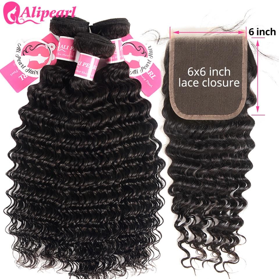 H5f9f49b556a841799ee00cc0138404aeM Deep Wave Human Hair Bundles With Closure 6x6 Free Part Pre Plucked Brazilian Bundles With Closure Remy Hair Extension AliPearl