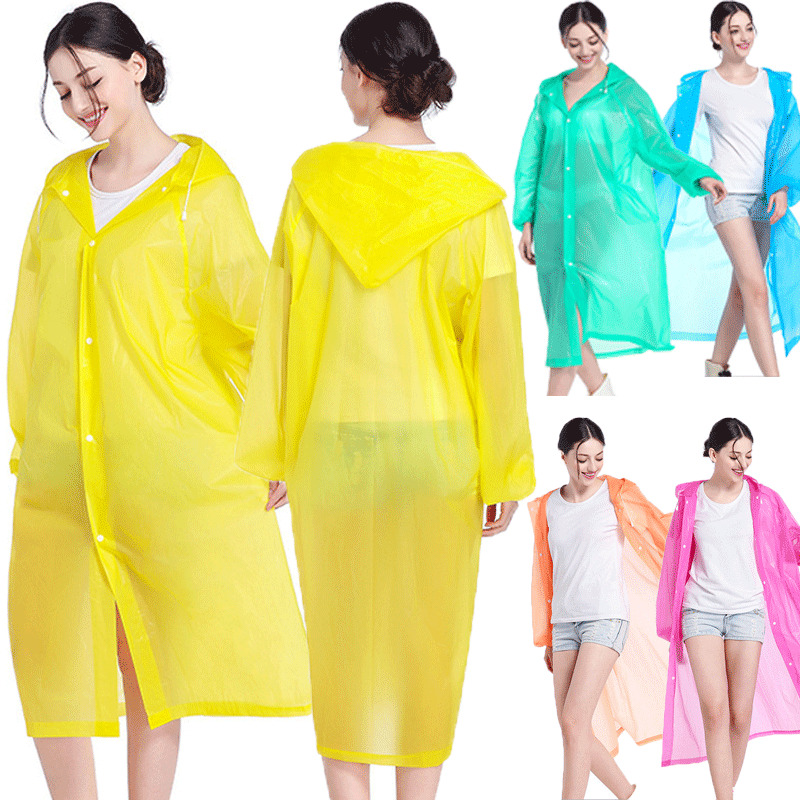 1 X Disposable Adult Emergency Waterproof Rain Coat PONCHO Hiking Travel Camping Send In Random Color