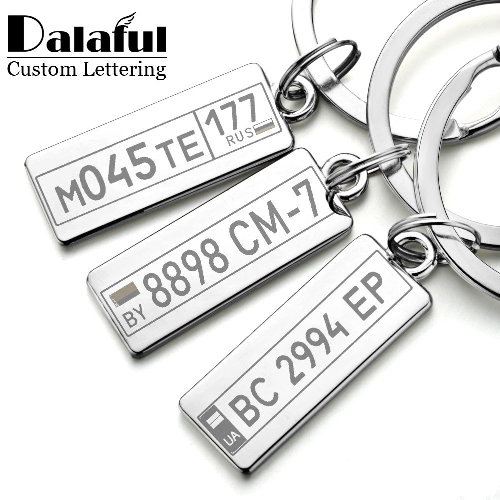 Personalized Keyrings Custom Car Number Plate Keychain Charms For Men Women Couple Lover Gift Metal Key Chain Ring Holder P009