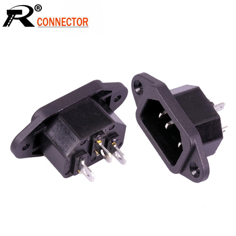 100pcs//lot AC Male Plug Panel Mount Power Supply Connector AC 3 Pins IEC320 C14 Inlet AC 250V 15A AC Power Adapter Wholesale
